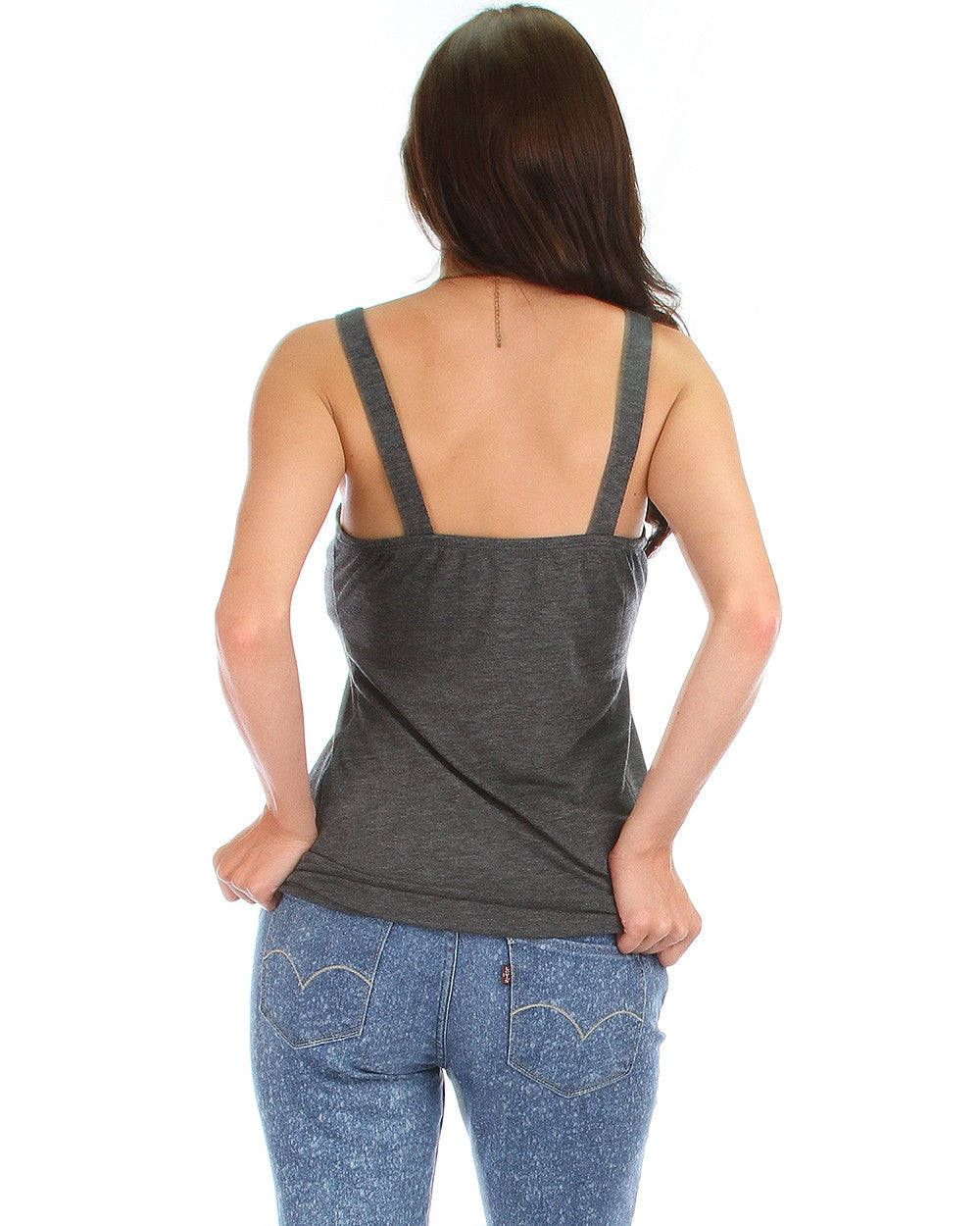 Rayon Basic V-Neck Top In Charcoal