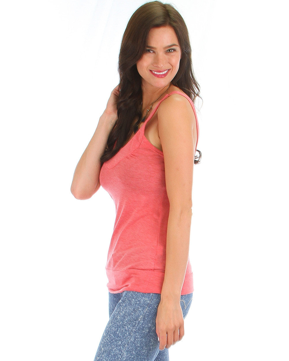 Rayon Basic V-Neck Top In Coral