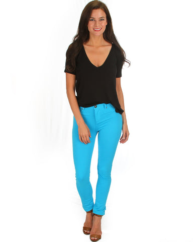 All Day Comfort Skinny Pants In Turquoise