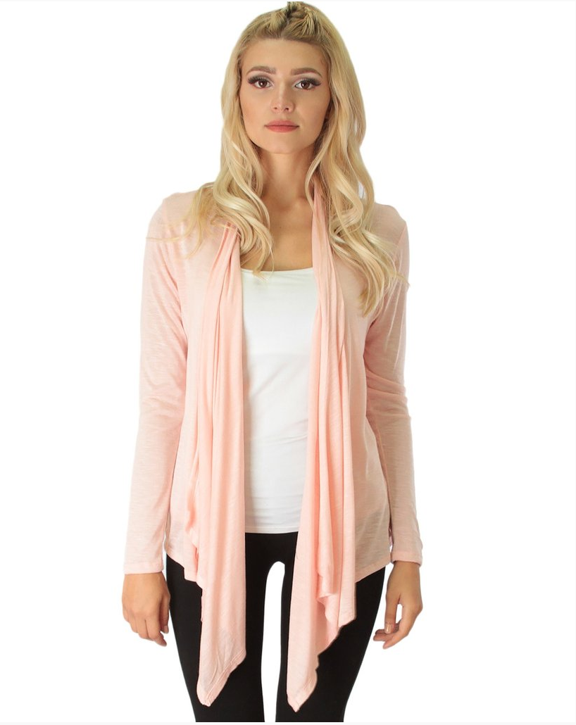 Burnout Long Sleeve Draped Cardigan
