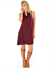 Ribbed Cowl Neck Shift Dress