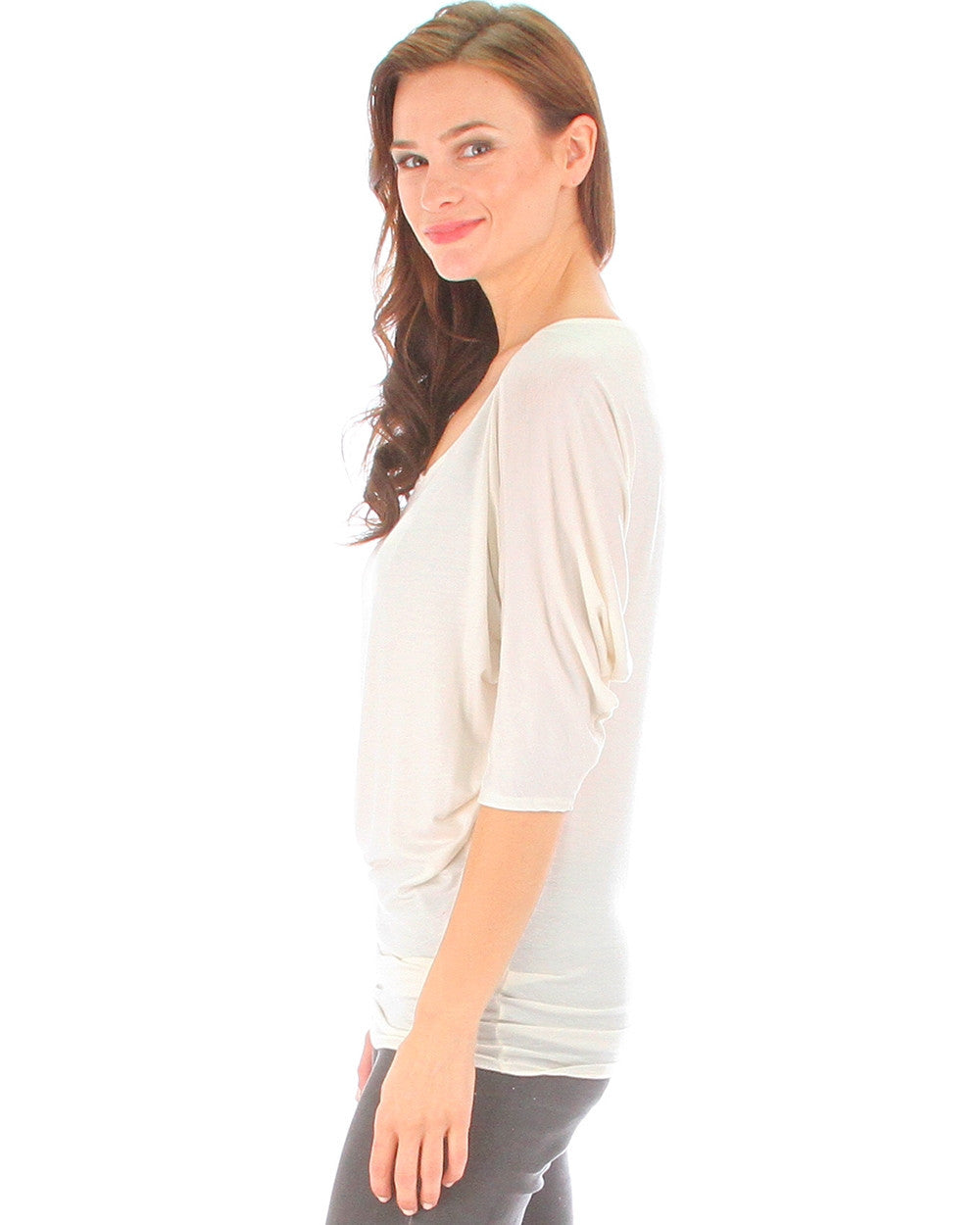 Everyday Dolman Sleeve Top In Ivory