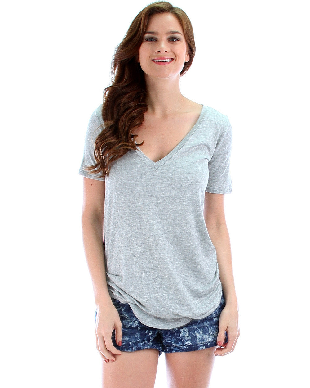Madly Deep-V Neck Tunic Top In Grey