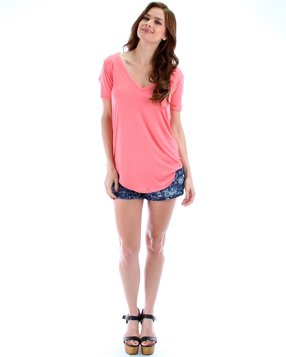 Madly Deep-V Neck Tunic Top In Pink