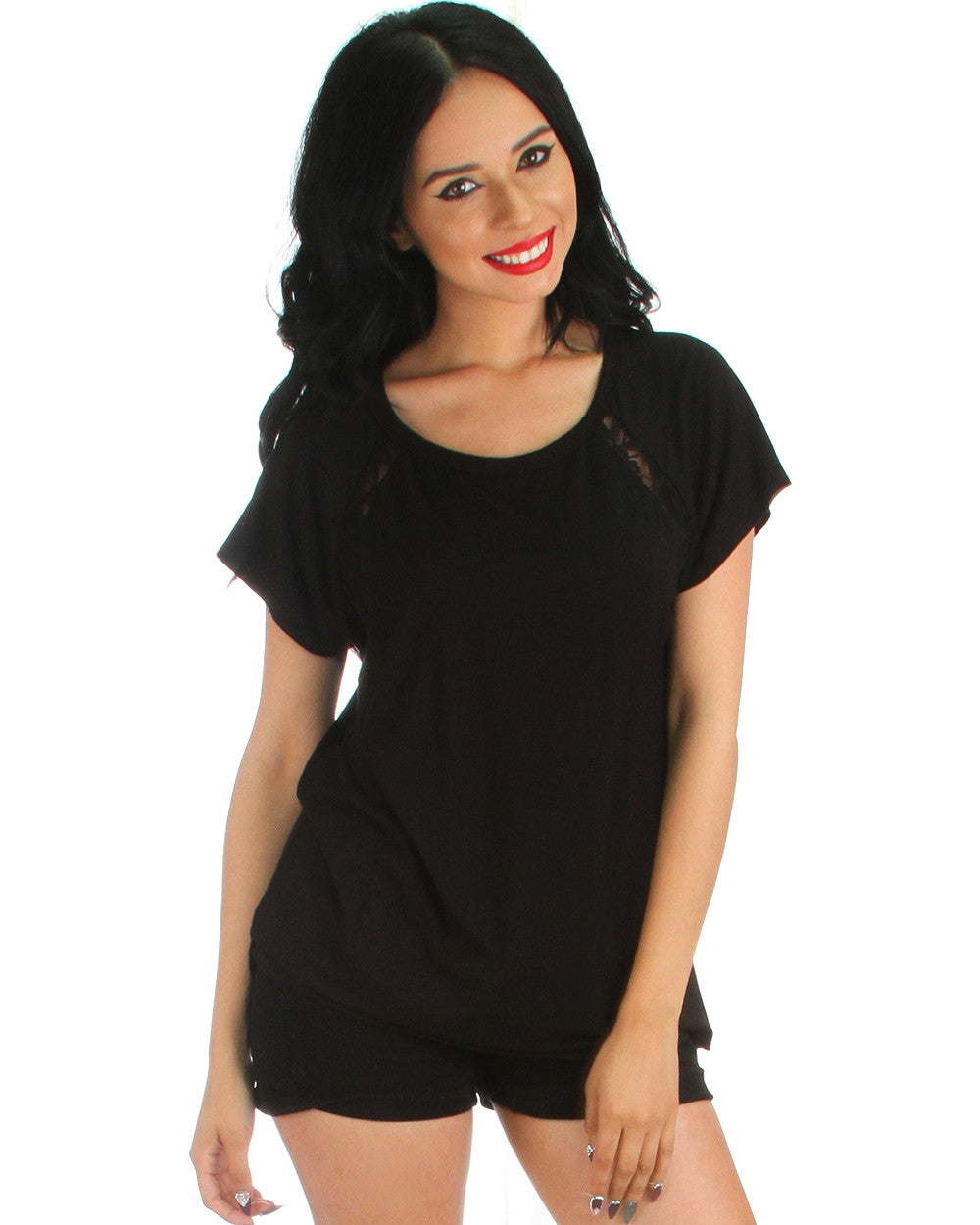 Front & Back Lace Trim Tunic Top In Black