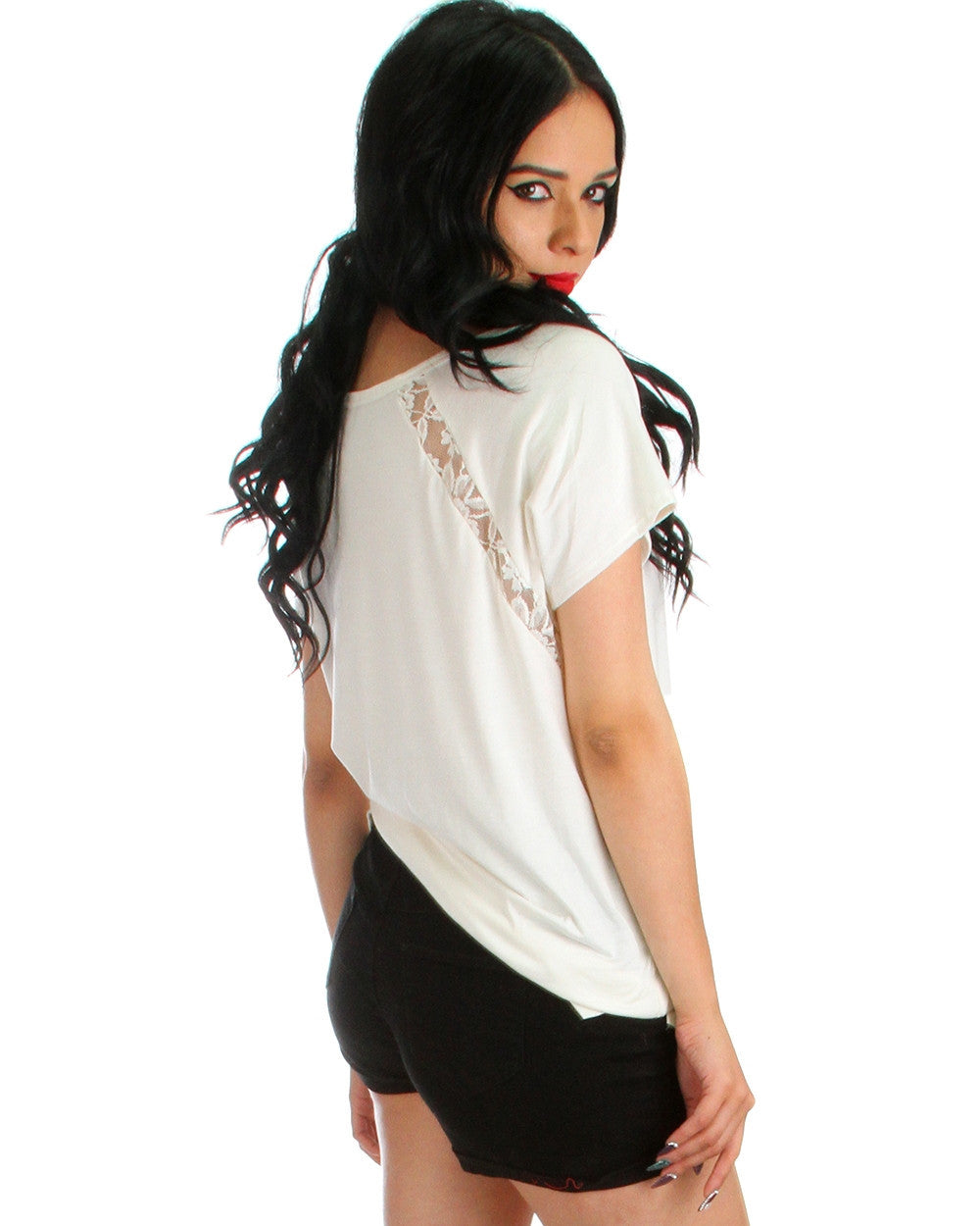 Front & Back Lace Trim Tunic Top In Ivory