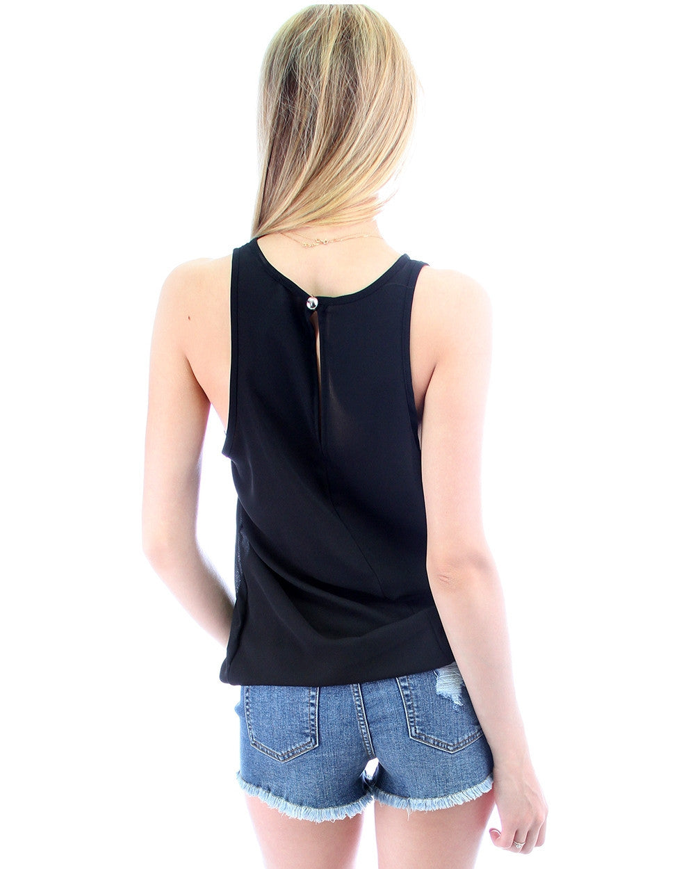 Open Shoulder Top In Black