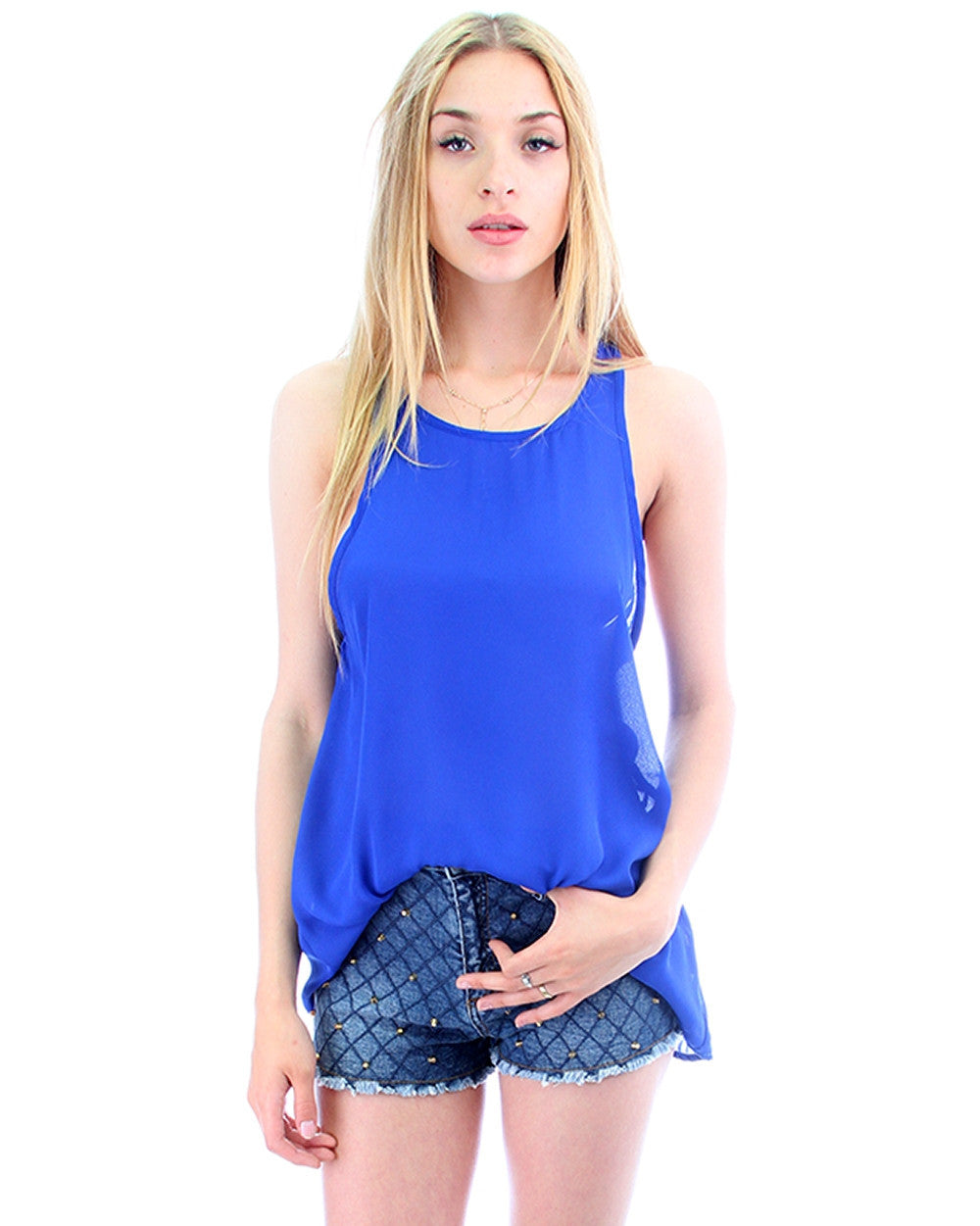 Open Shoulder Top In Royal
