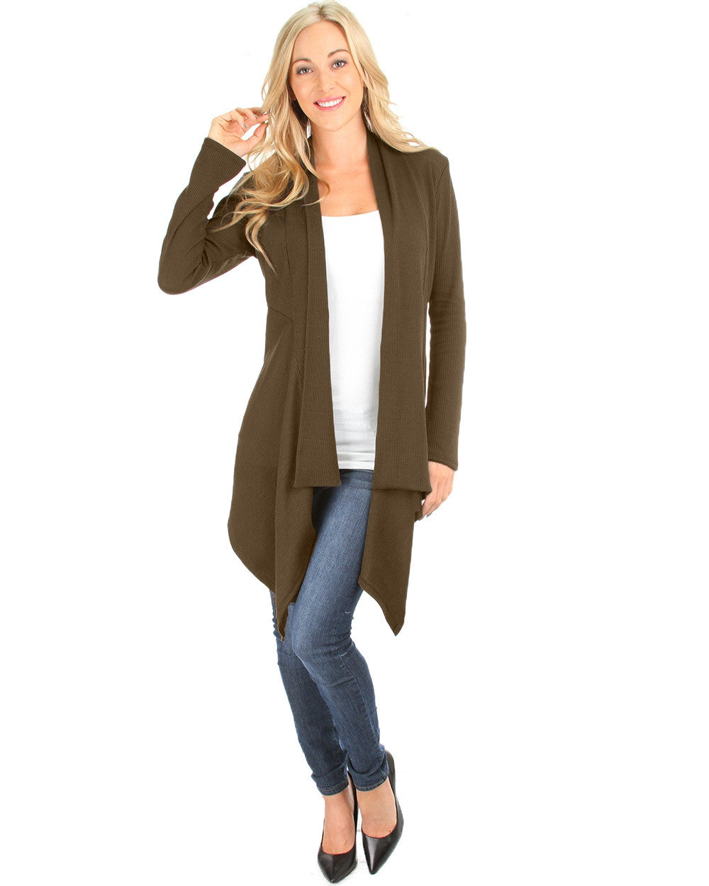 Draped Body Slimming Ribbed Cardigan In Brown