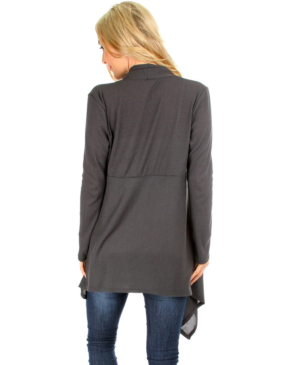 Draped Body Slimming Ribbed Cardigan In Charcoal