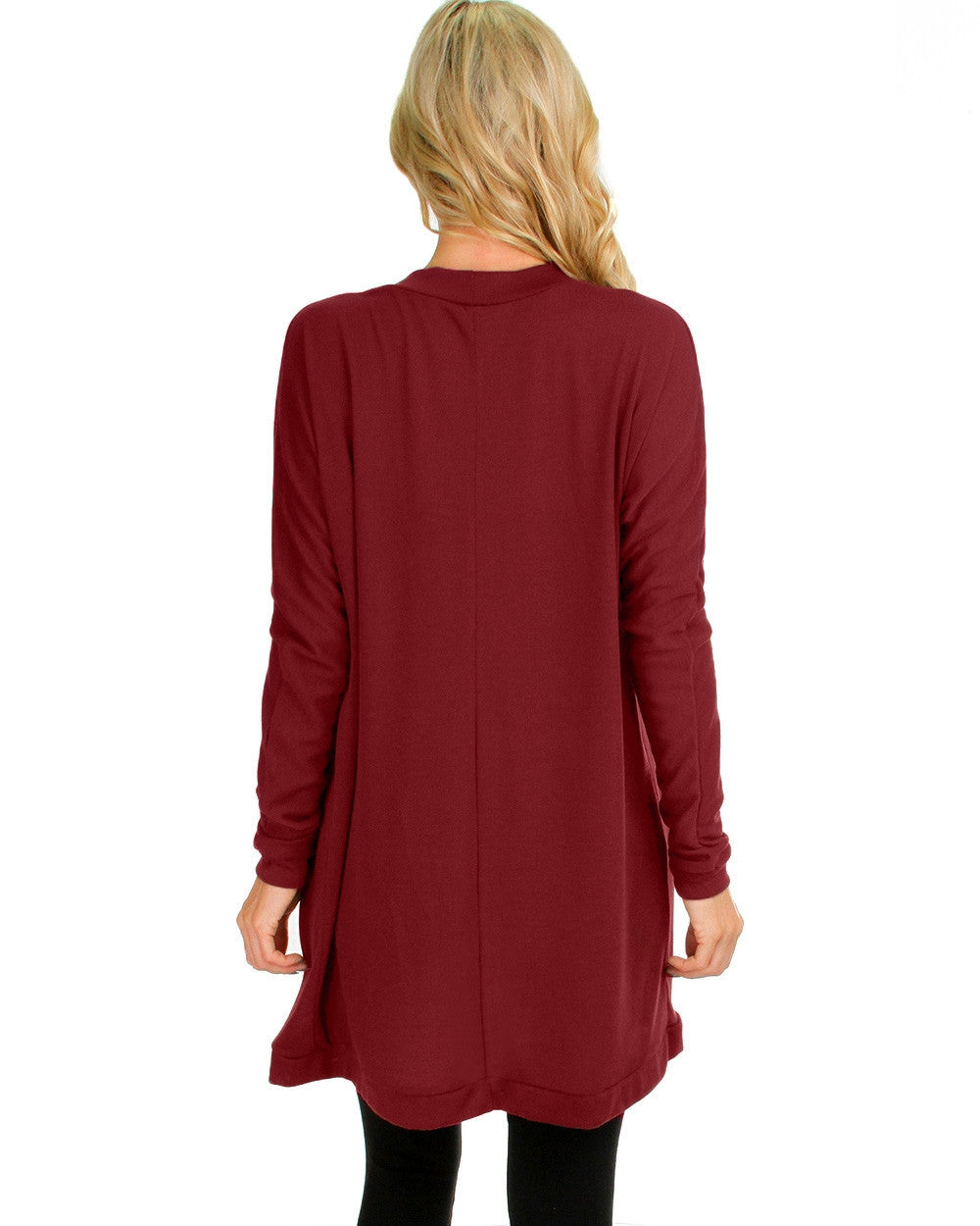 Long Open Front Cardigan In Burgundy