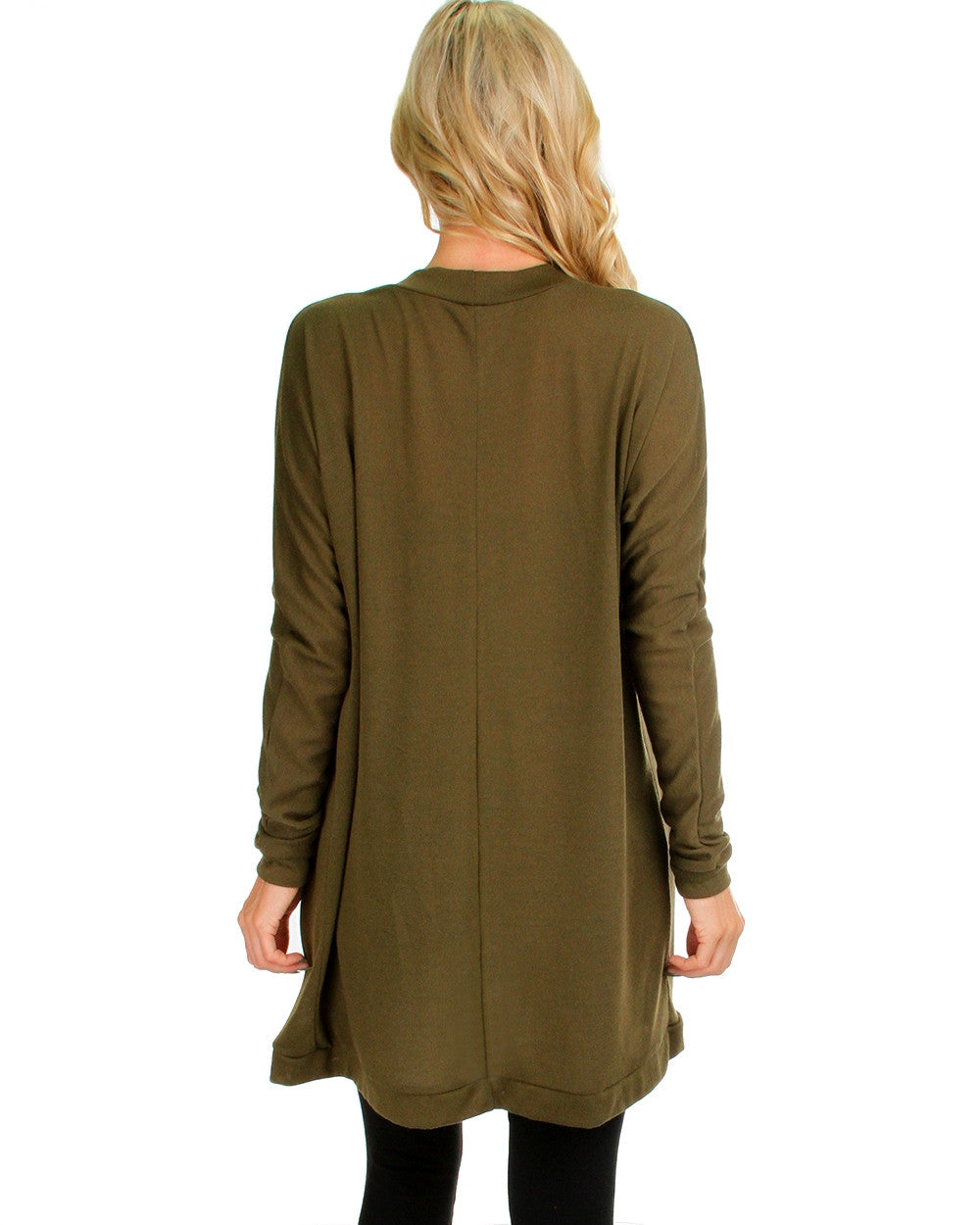 Long Open Front Cardigan In Olive