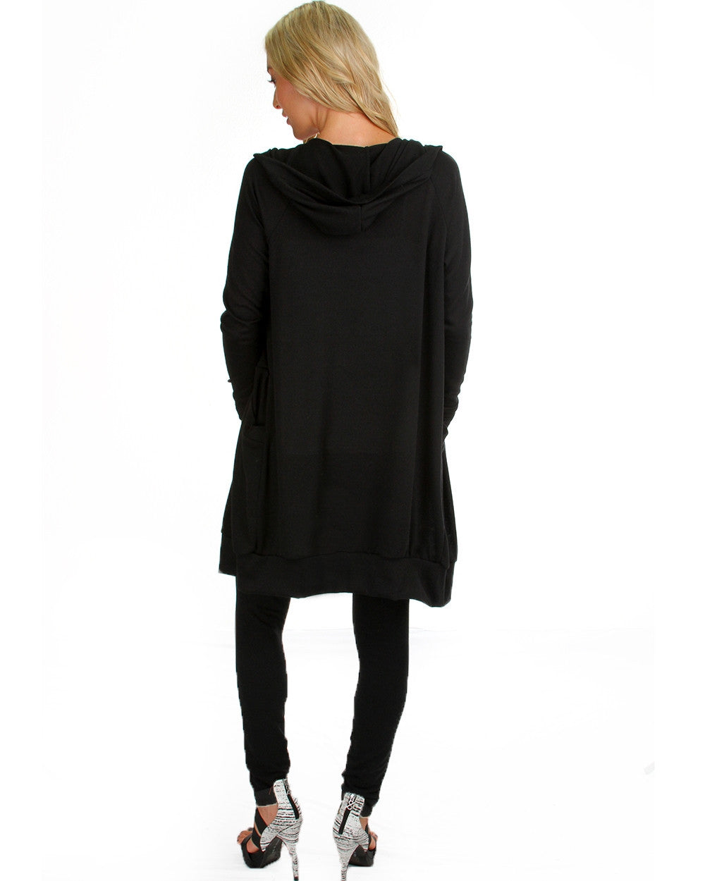 Long Line Hooded Cardigan In Black
