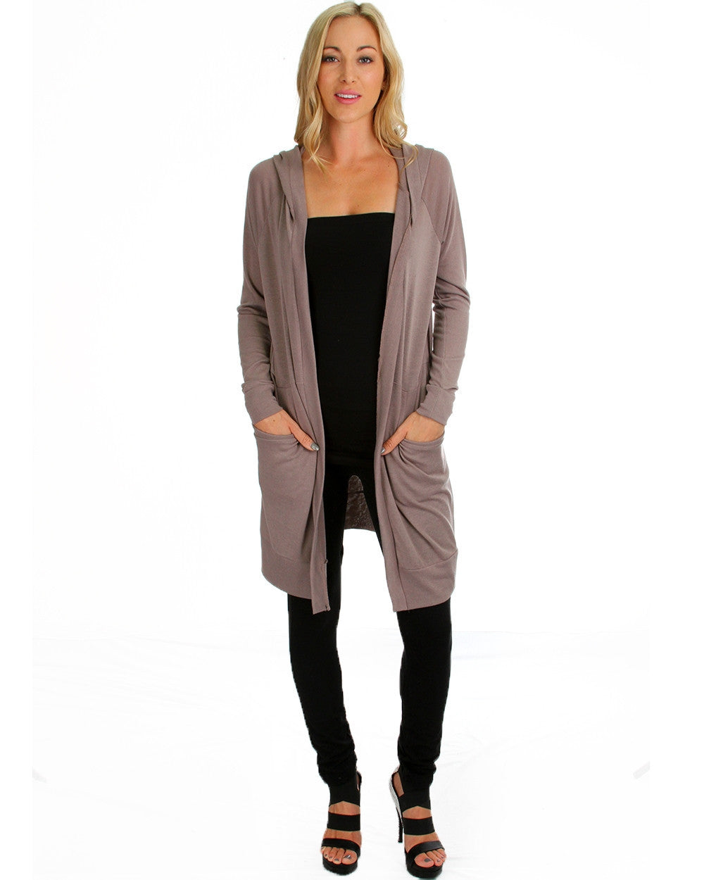 Long Line Hooded Cardigan In Taupe