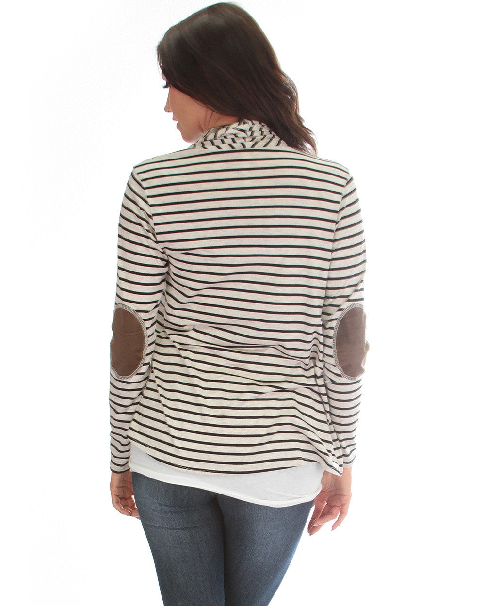 Totally Striped Out Elbow Patch Cardigan In Oatmeal