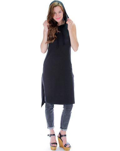 Draw String Hoodie Tunic Dress In Black