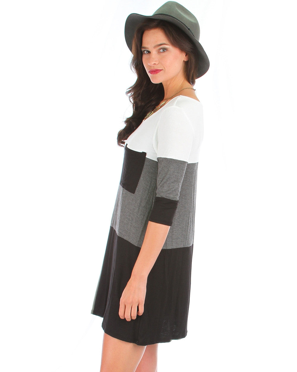 Three For Me Color Block Tunic Dress In Charcoal