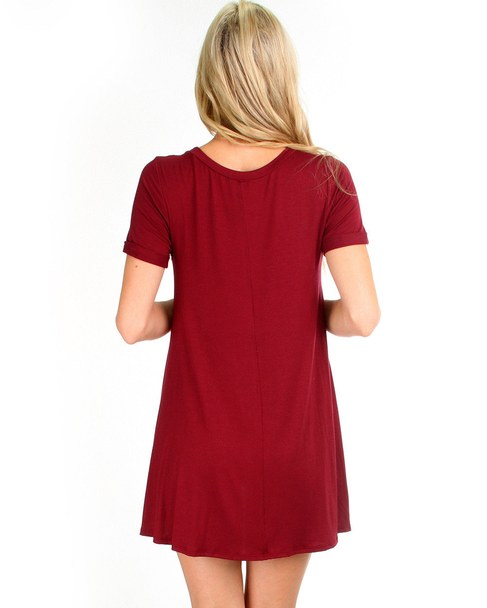 Reporting For Cutie T-Shirt Dress In Burgundy