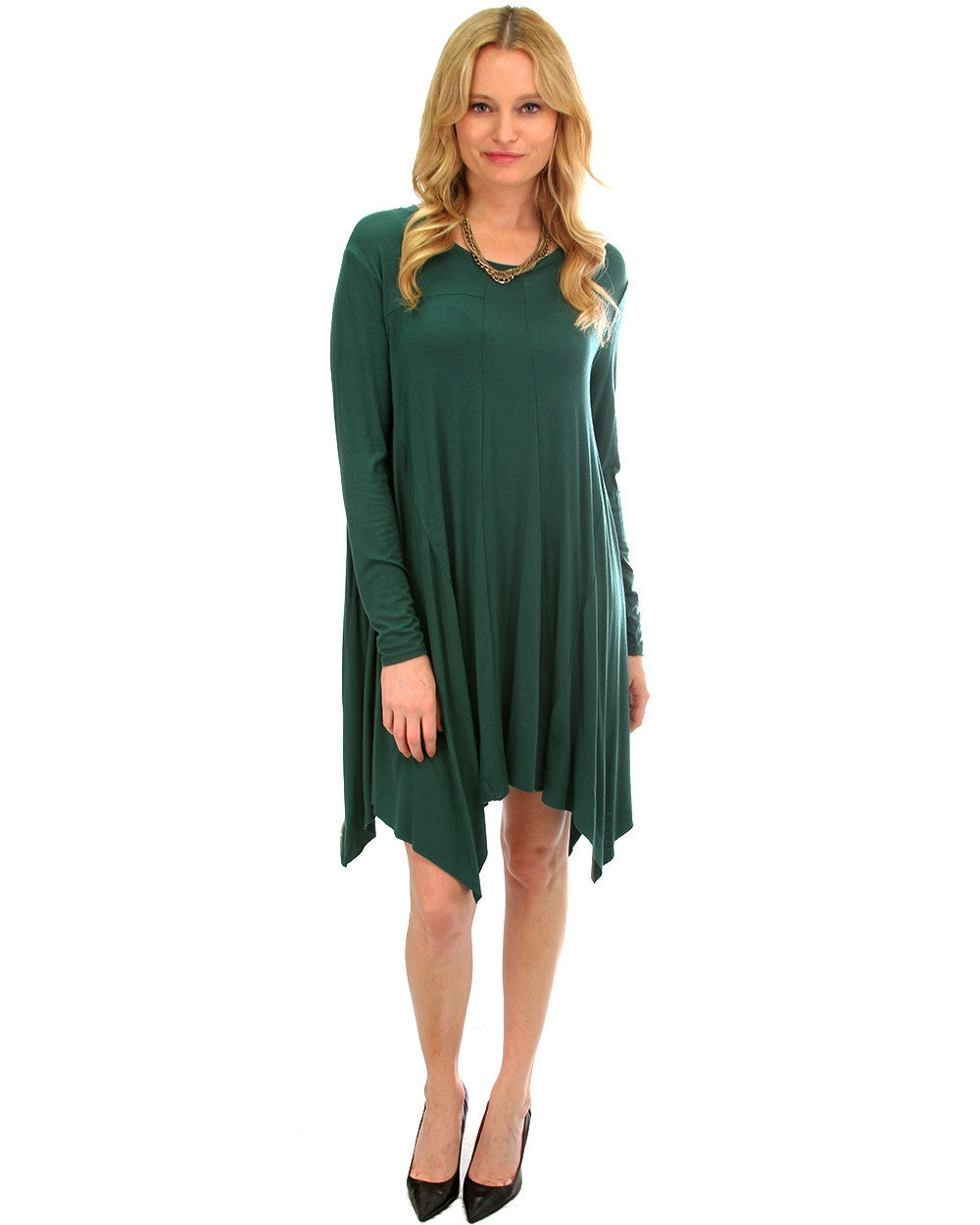 Long Sleeve Oversized T-Shirt Dress In Green