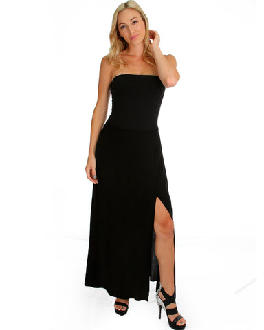 Oh Slit Maxi Skirt In Black