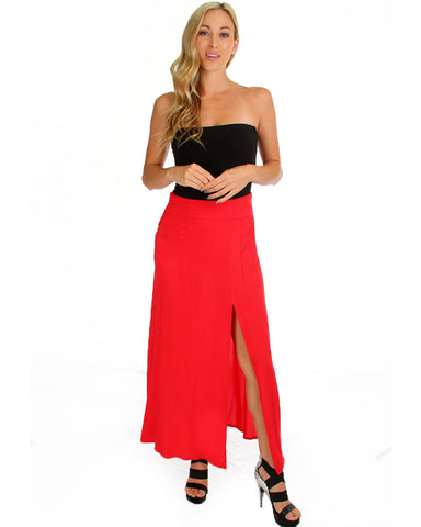 Oh Slit Maxi Skirt In Red