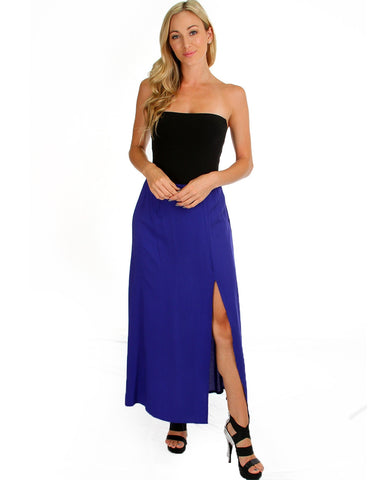 Oh Slit Maxi Skirt In Violet