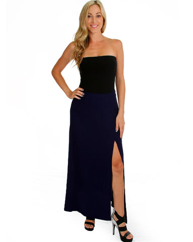 Oh Slit Maxi Skirt In Navy