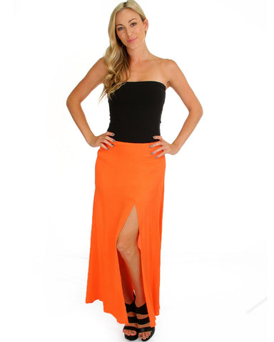 Oh Slit Maxi Skirt In Nectarine