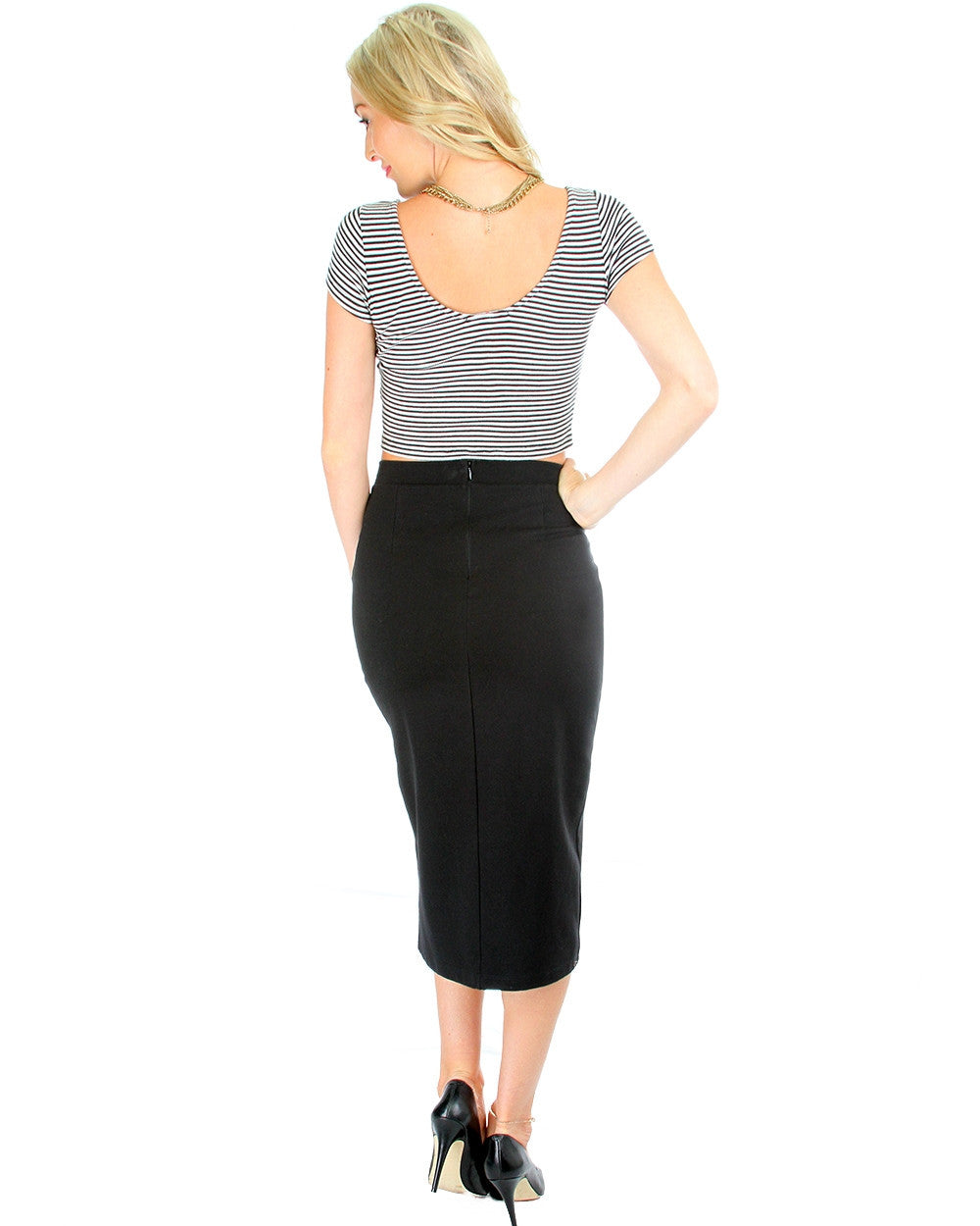 Suit Your Fancy Midi Skirt In Black