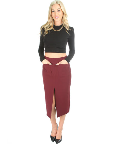 Suit Your Fancy Midi Skirt In Burgundy