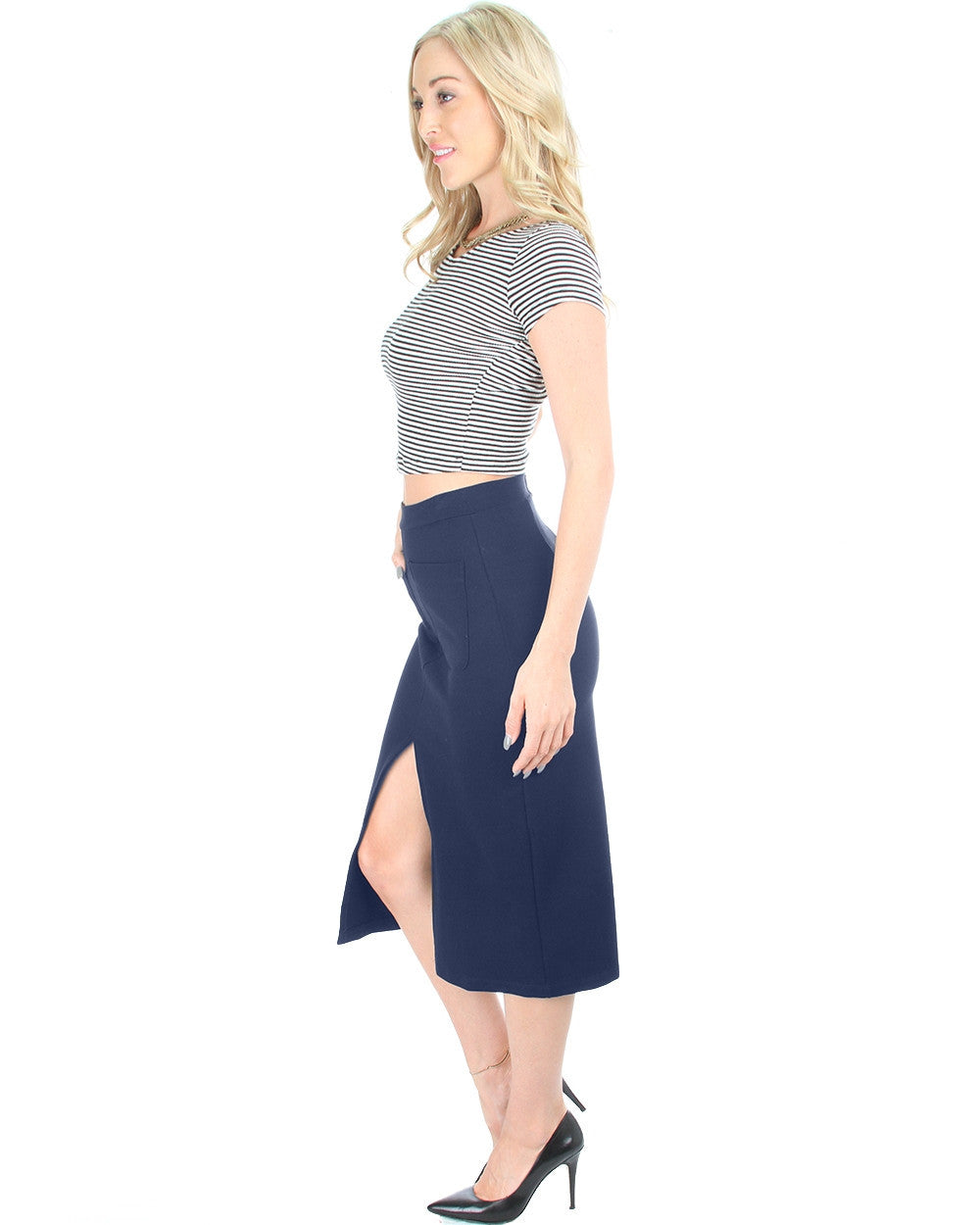 Suit Your Fancy Midi Skirt In Navy