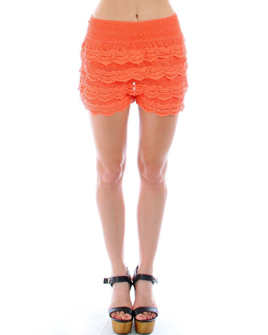 Hip Crochet Lace Shorts In Coral
