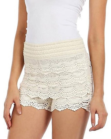 Hip Crochet Lace Shorts In Ivory