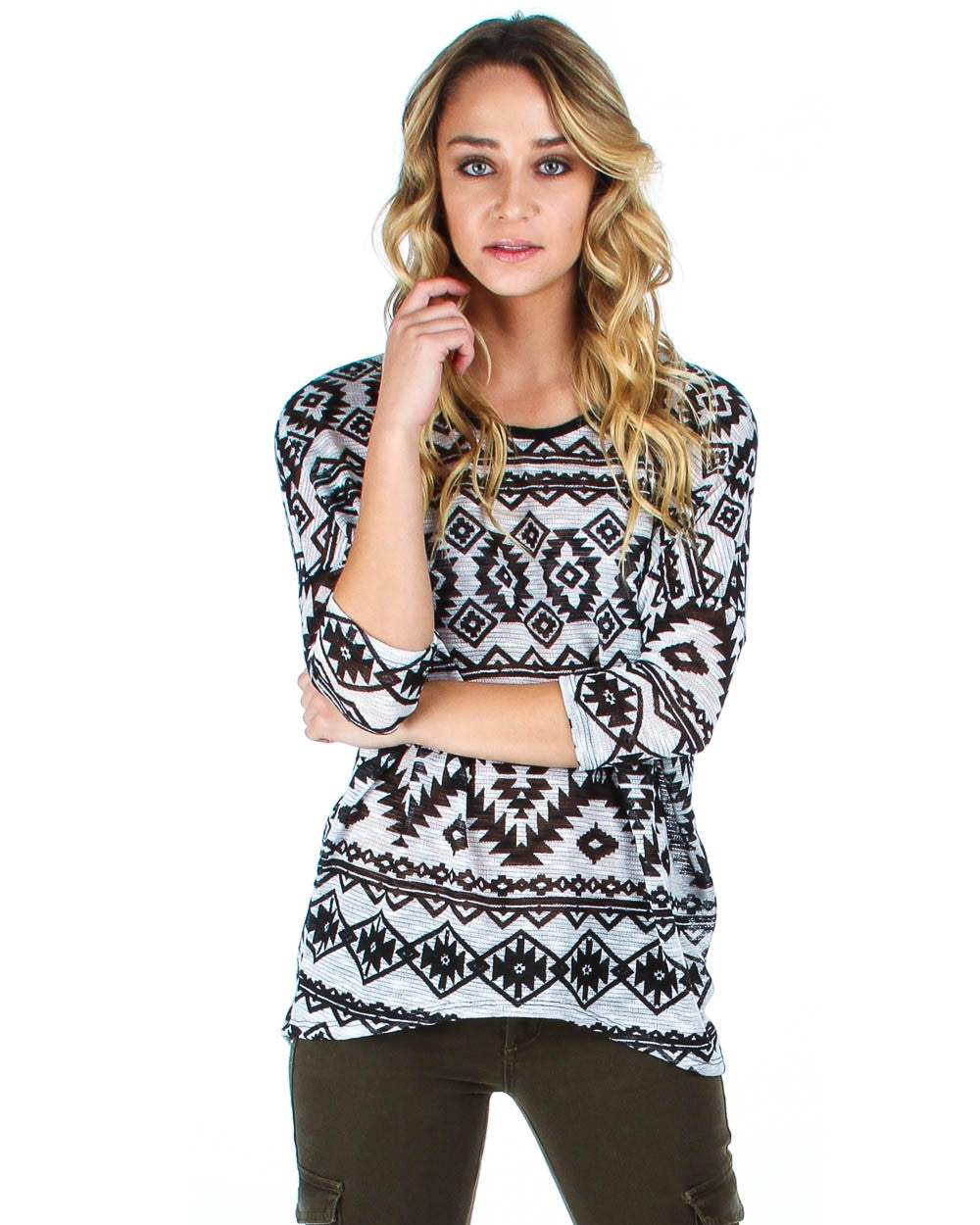 French Terry Aztec Patterned Top In Ivory