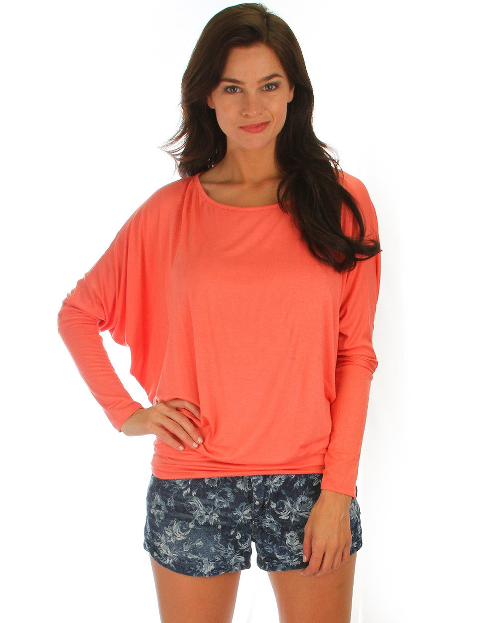 Long Sleeve Dolman Top With Side Ruching In Coral