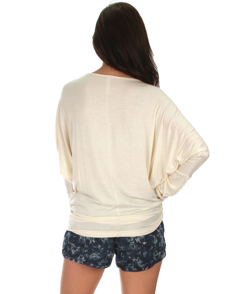 Long Sleeve Dolman Top With Side Ruching In Ivory