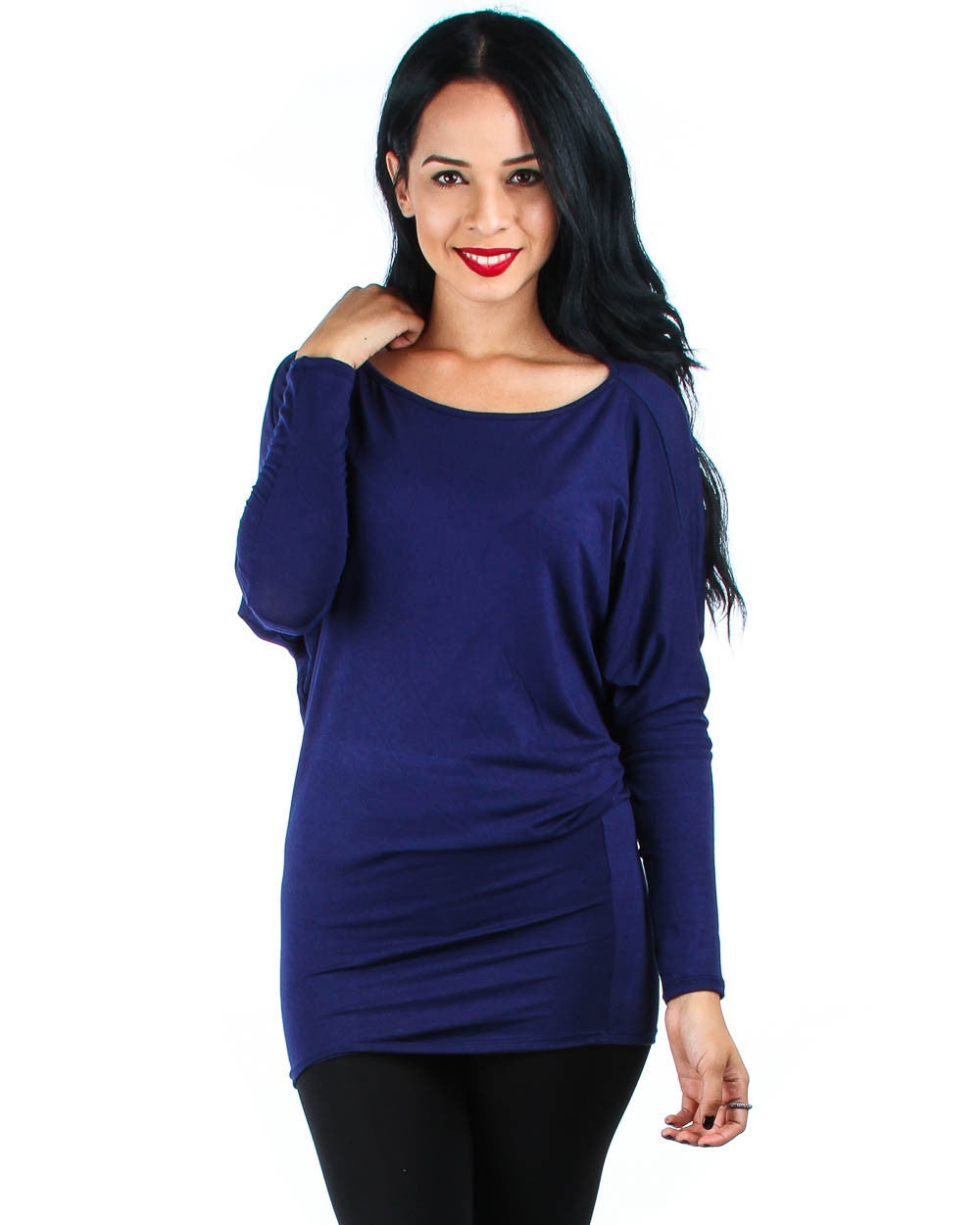 Long Sleeve Dolman Top With Side Ruching In Navy