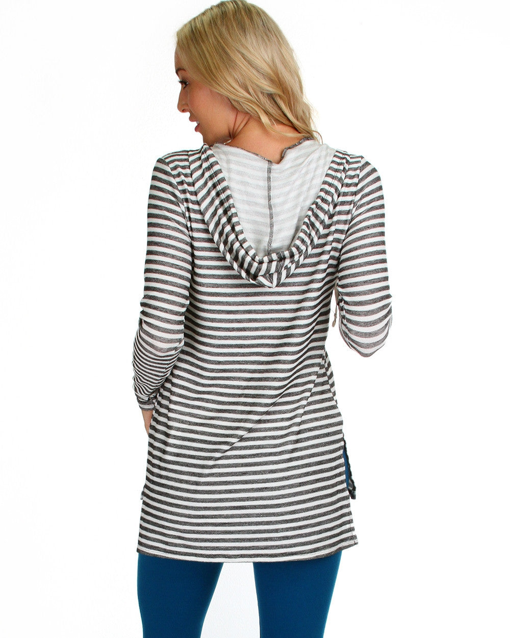 Try Me On Hooded Sweater Top In Stripes