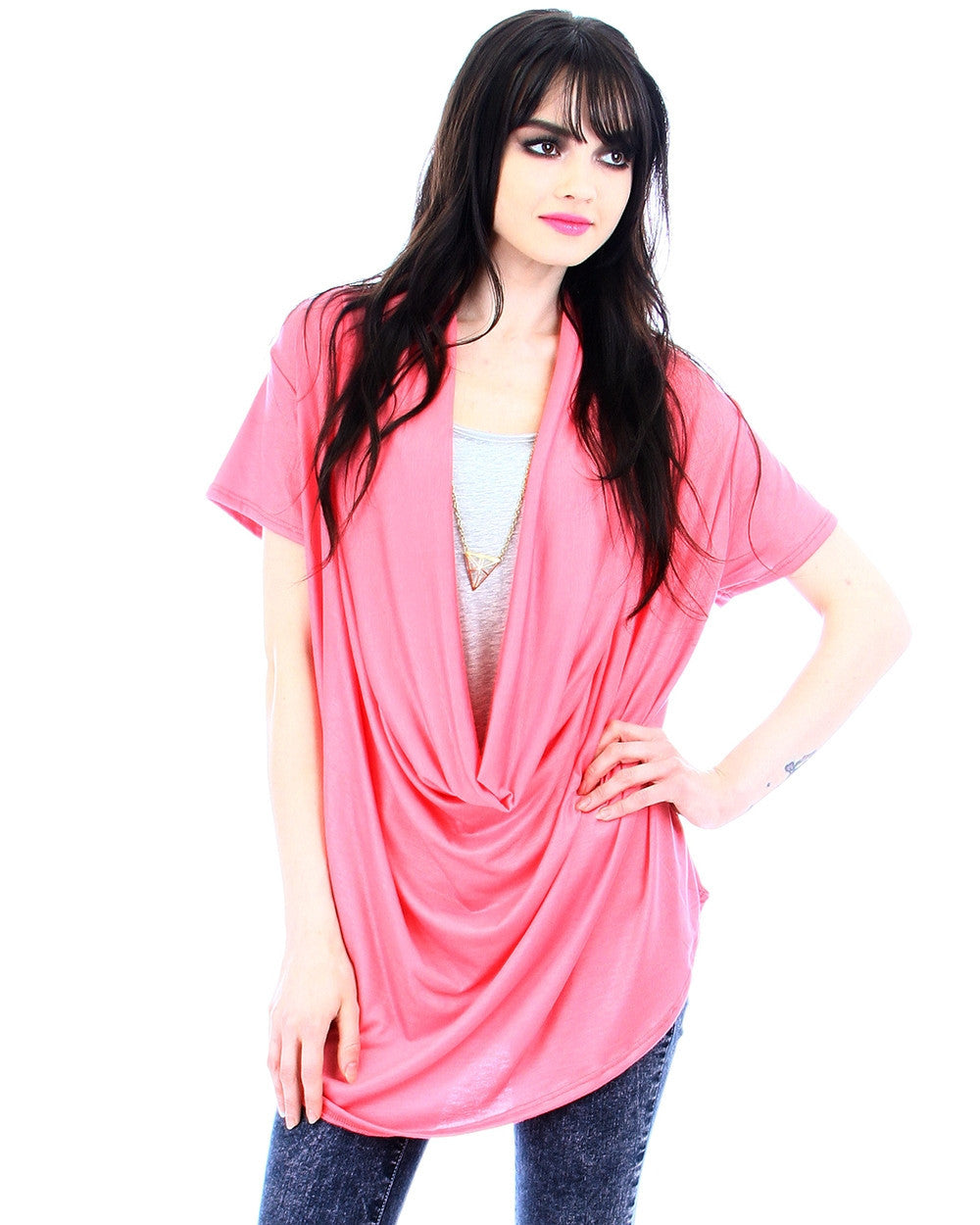 Deep Cowl Neck Top In Coral