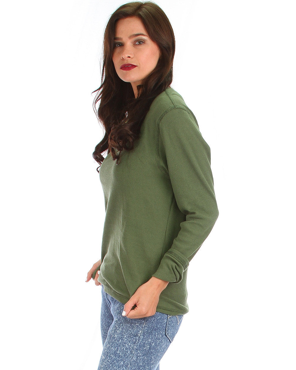 Classic Comfy Thermal Long Sleeve Top In Olive