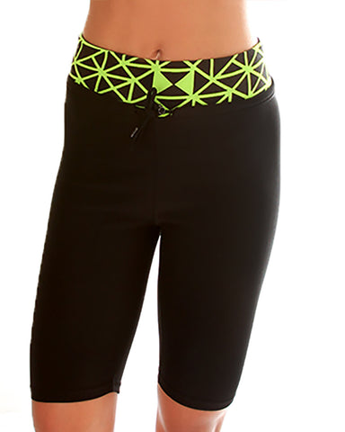 Green Geo Print Lyss Loo Work it Out Active Shorts