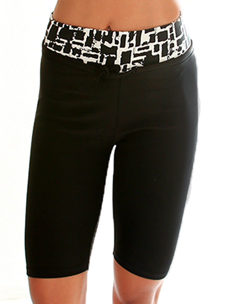 White Geo Print Lyss Loo Work it Out Active Shorts
