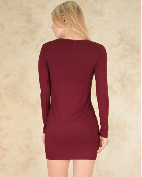 Comeback Baby Long Sleeve Bodycon Dress In Burgundy