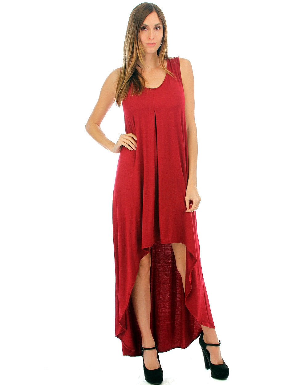 Free Style Hi-Low Maxi Dress In Ruby