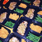 Grilled pork loin with maple mustard and bbq honey @flavorgod mashed sweet potatoes with lemon green beans - Nourish NB