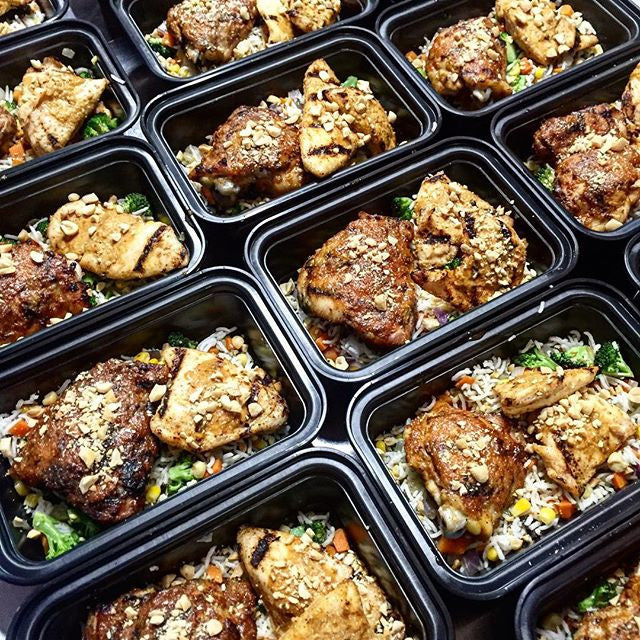 Sticky Peanut Chicken Thighs with Veggie Not Fried Rice