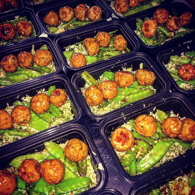 Asian turkey meat balls w broccoli rice and veg - Nourish NB