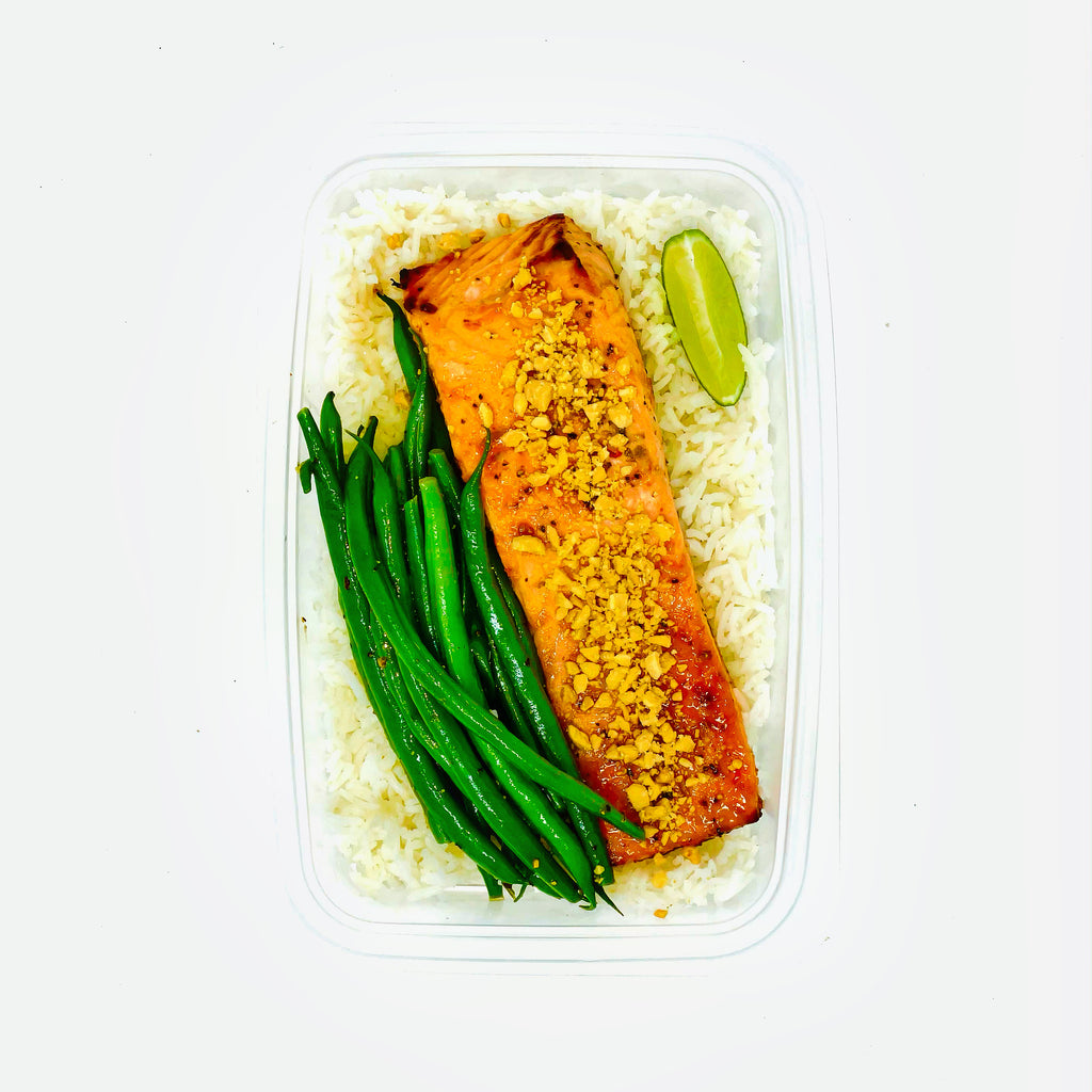 Sweet, Sticky, Spicy, Nutty Salmon with Green Beans and Rice