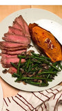 Steak, Twice Baked Sweet Potato, with Green Beans and Mushroom. - Nourish NB