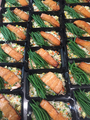Honey Garlic Salmon w Green Beans and Not Fried Rice